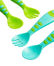 Load image into Gallery viewer, mothercare easy grip spoon & fork set - 4 pieces blue