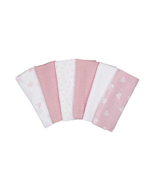 mothercare pink muslins - 6 pack