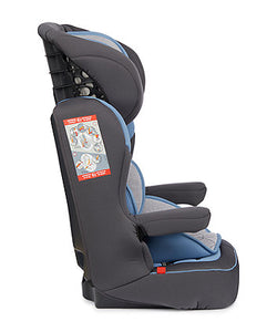 mothercare advance xp highback booster car seat grey and blue