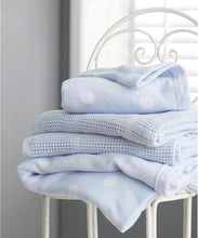 Load image into Gallery viewer, mothercare crib or moses basket cellular cotton blanket- blue