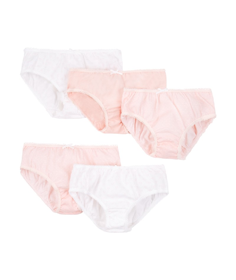 pink and white briefs - 5 pack