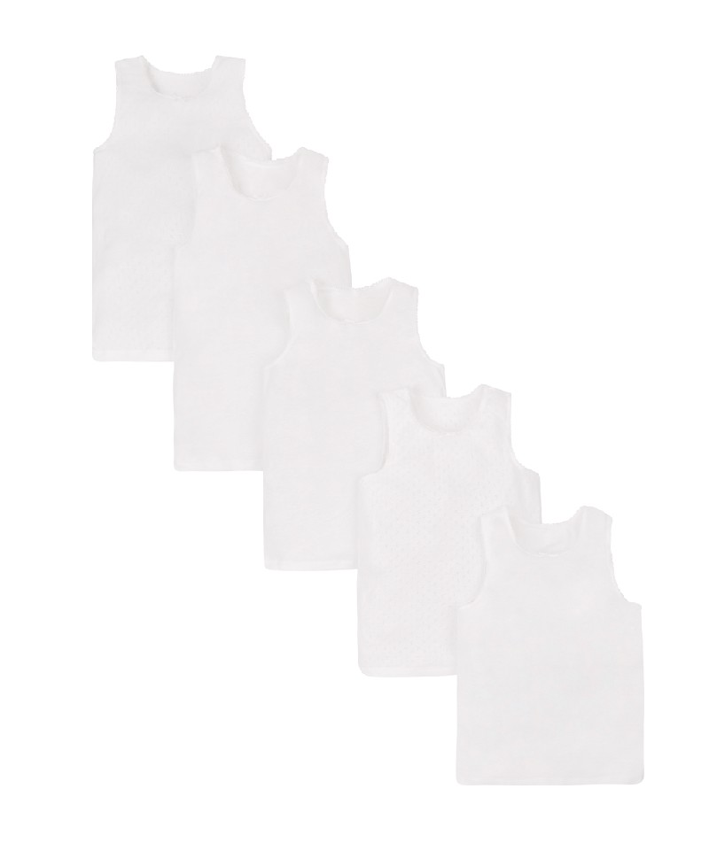 white vests - 5 pack