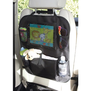 clippasafe - back seat protector with tablet holder