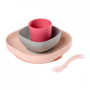 beaba - silicone meal set (4 pcs) - pink
