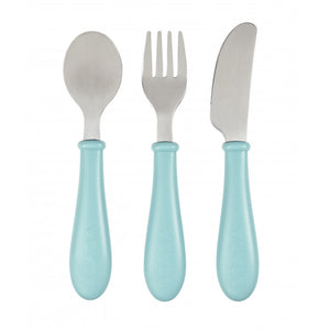 beaba - stainless steel training cutlery - airy green