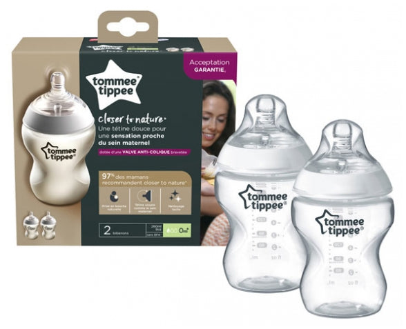 tommee tippee closer to nature baby bottle decorated natural, x2 bottles, 260 ml