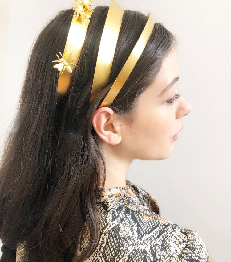 NARROW SPUN GOLD CROWN