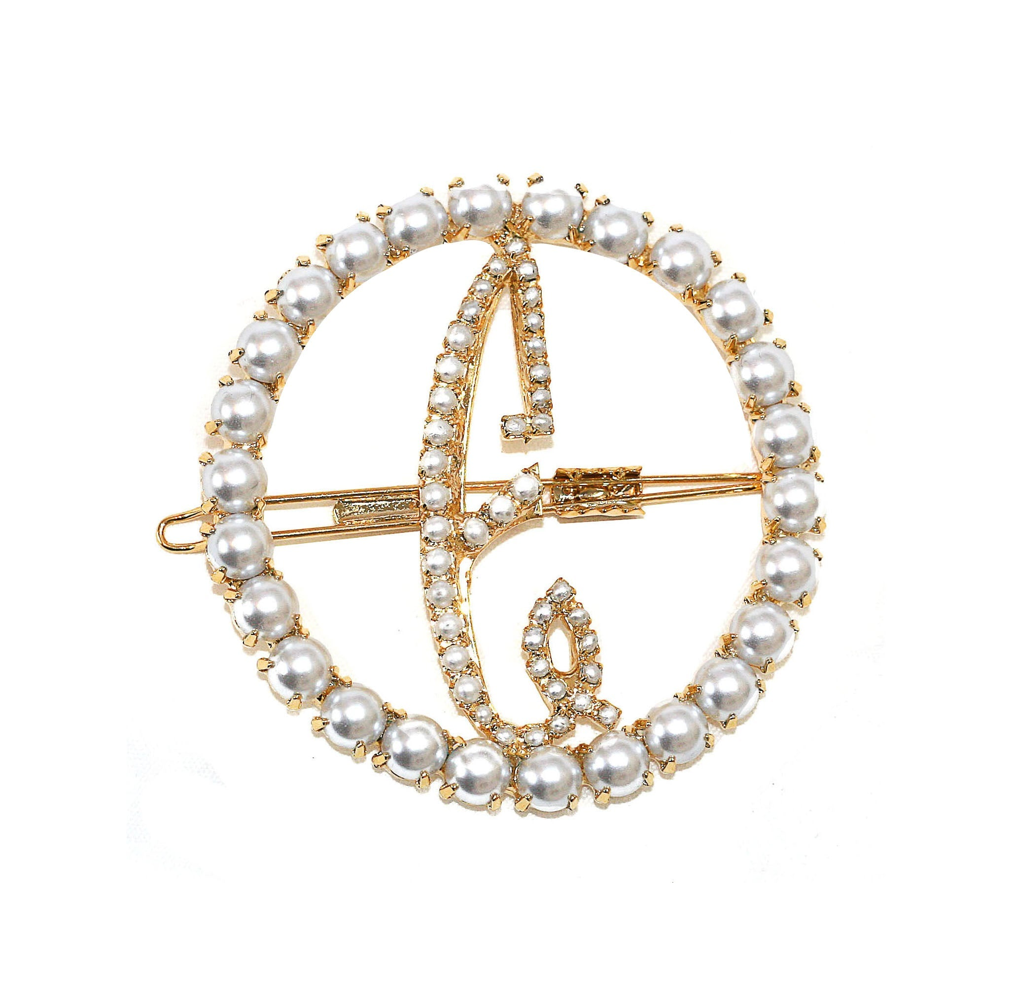 LARGE PEARL CIRCLE INITIAL BARRETTE