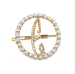 Load image into Gallery viewer, LARGE PEARL CIRCLE INITIAL BARRETTE