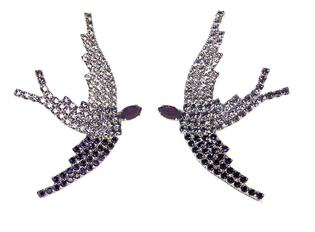 SWAROVSKI PHOENIX EARRINGS IN PURPLE OMBRE