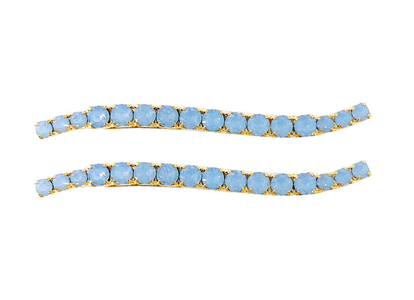 CRYSTAL WAVY BOBBIES IN OPAL (SET OF TWO)