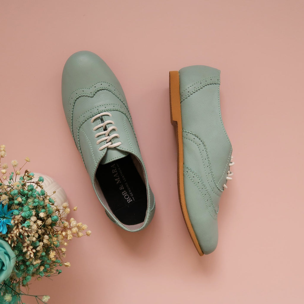 Ezra in Mint - Brogues - Rob and Mara