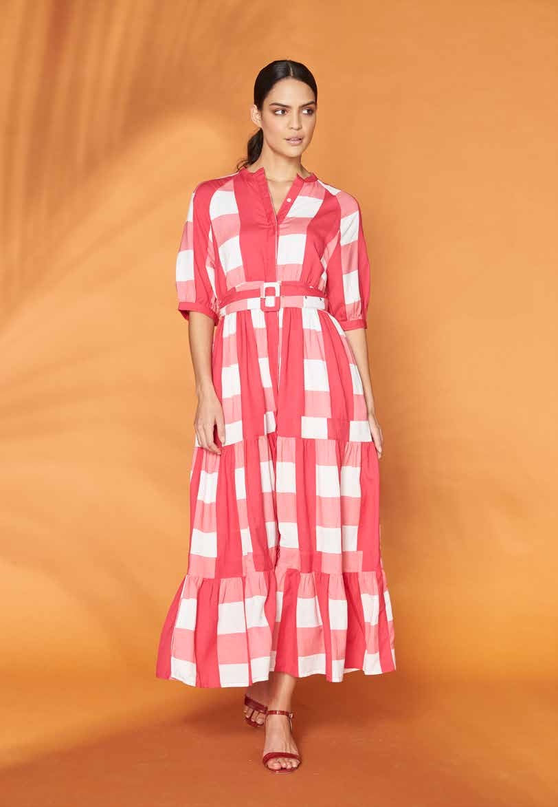 FRANKIE AND DASH PUFF SLEEVE TIERED MAXI DRESS - PINK GINGHAM