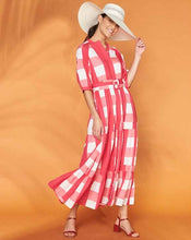 Load image into Gallery viewer, FRANKIE AND DASH PUFF SLEEVE TIERED MAXI DRESS - PINK GINGHAM