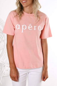 APERO PRINTED TEE DUSTY PINK