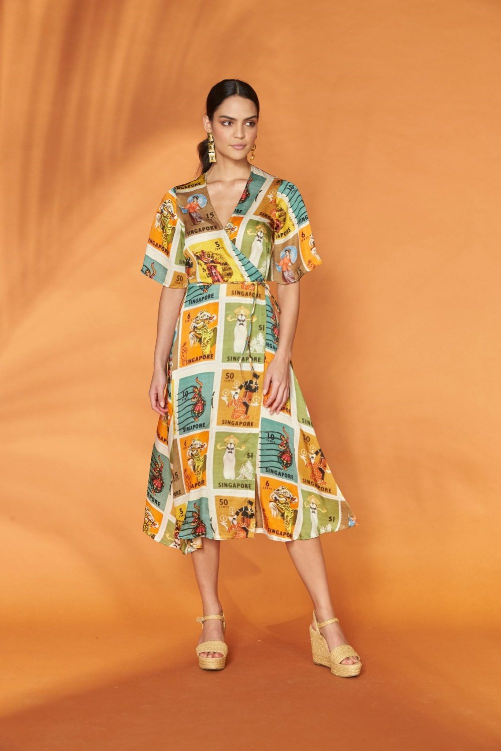 FRANKIE + DASH - WRAP DRESS - HERITAGE STAMPS