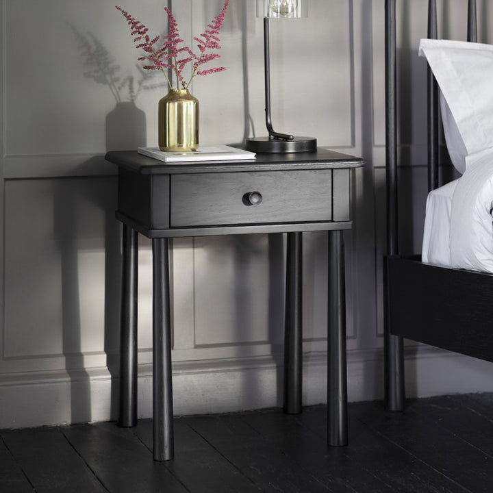 Bedside Table One Drawer Nordic (Black)