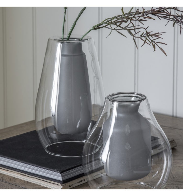 Glass Vase With Grey Inner