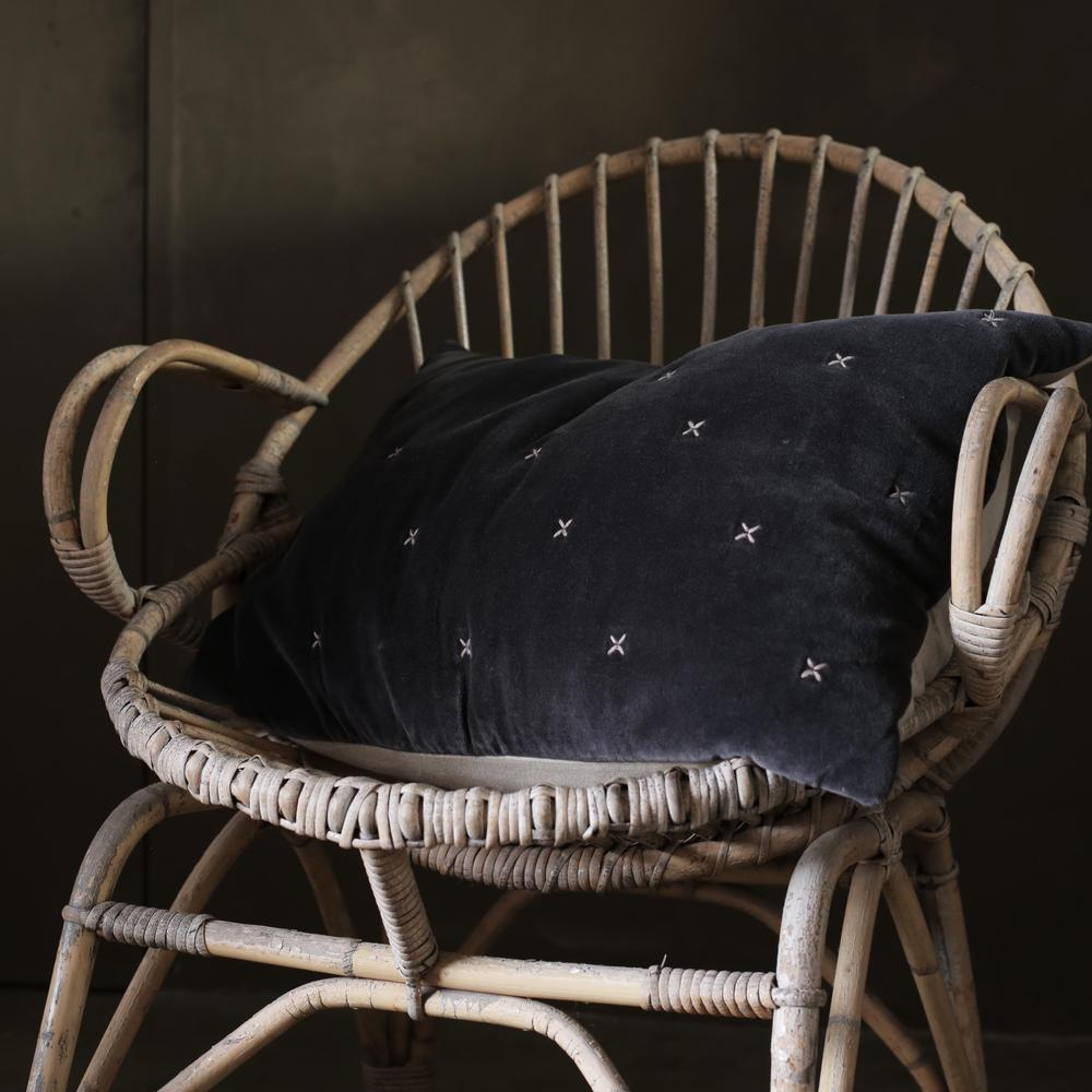 Dark Grey Criss Cross Cushion