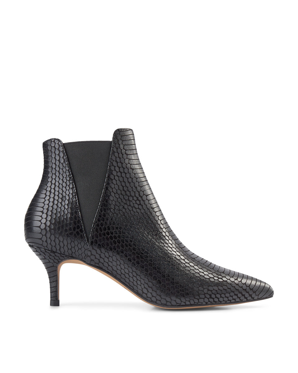 Snakeskin Ankle Boot Black