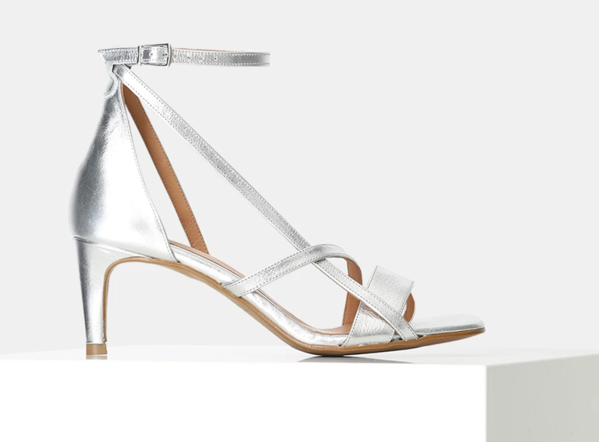 Metallic Strappy Heels Silver