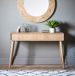 Two Drawer Oak Console Table