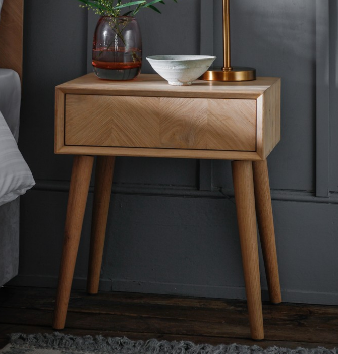 Chevron Oak Side Table