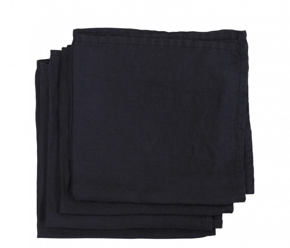 Washed Linen Napkins Black (set of 4)