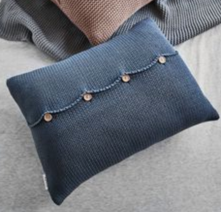 Blue Knitted Cushion