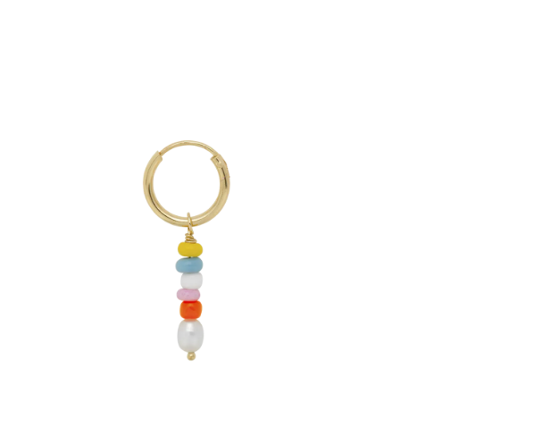 Single Beaded Ring Earring Gold