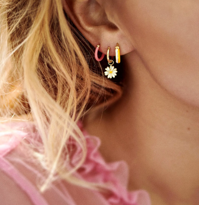 Single Ring Earring Pink Gold