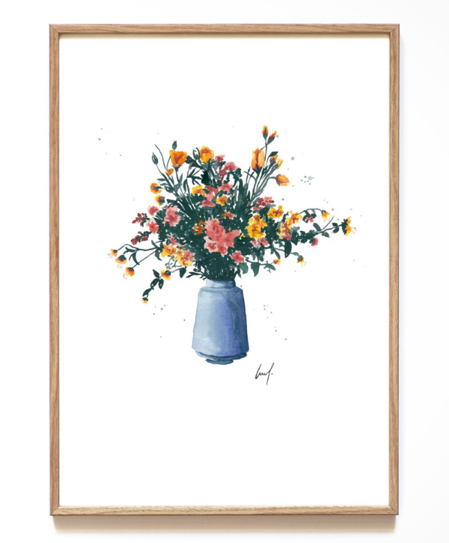 A4 Art Print - Blue Flower Vase