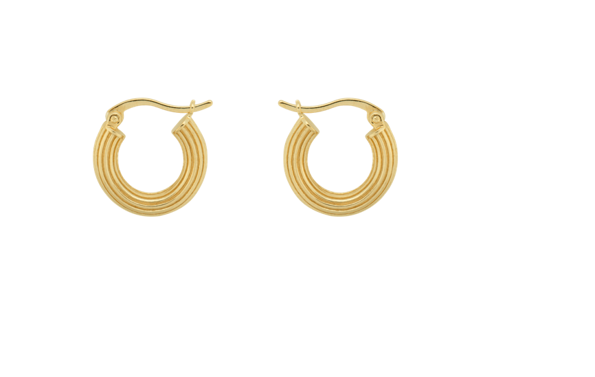 Pyramid Gold Earrings Pair