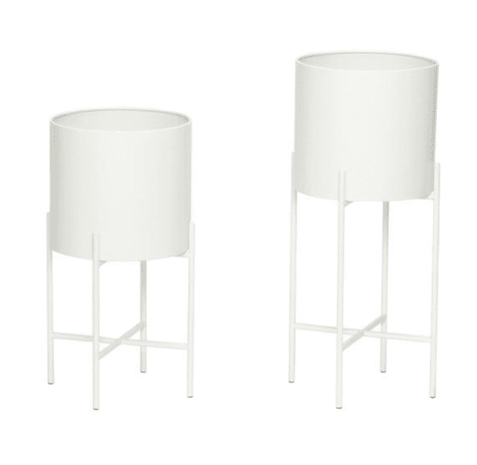 White Planters On Legs (two sizes)