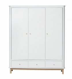 Wardrobe Wood And White Triple