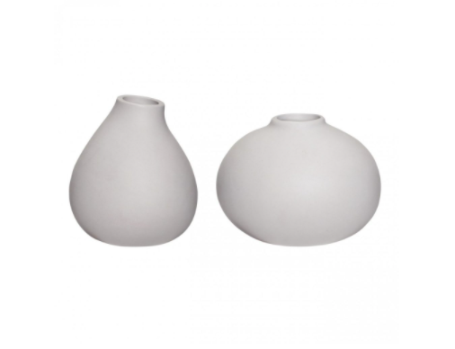 Set of2 Vase Ceramic Soft Grey