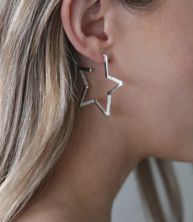 North Star Hoop Earrings Silver