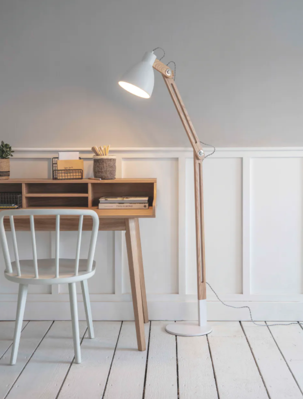 Floor Lamp White and Oak