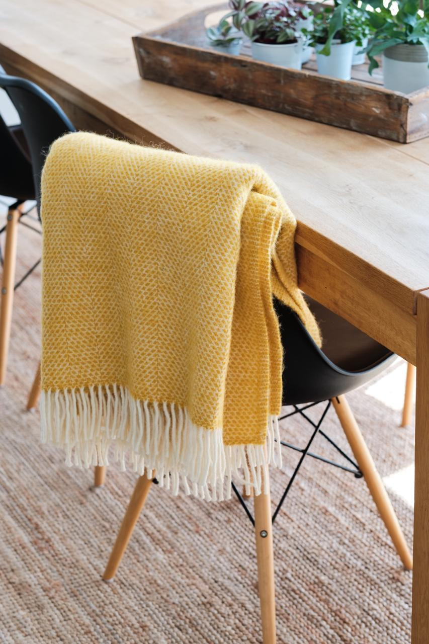 Dot and Tom Wool Blanket Mustard