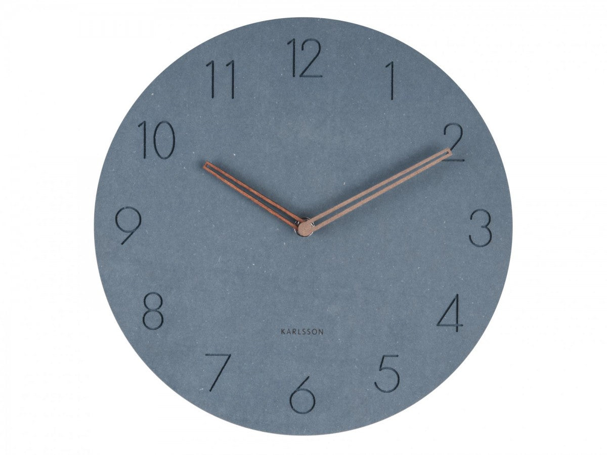 Wall Clock Wood/Blue