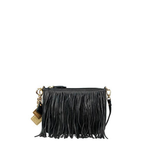 Willow Fringe Leather Handbag -Midnight Black