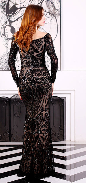 Black Sequin Evening Gown