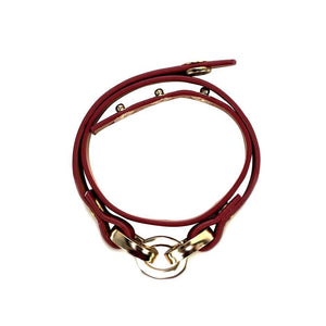 Latch Leather Bracelet - Scarlet Red
