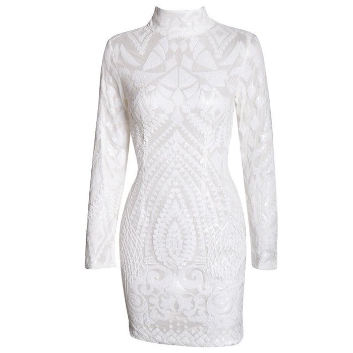 White Sequin Party Dress