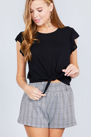 Ruffle Short Sleeve Front Tie Crinkle