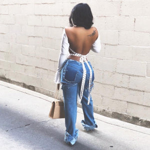 Women's Casual Sexy Backless Blouse