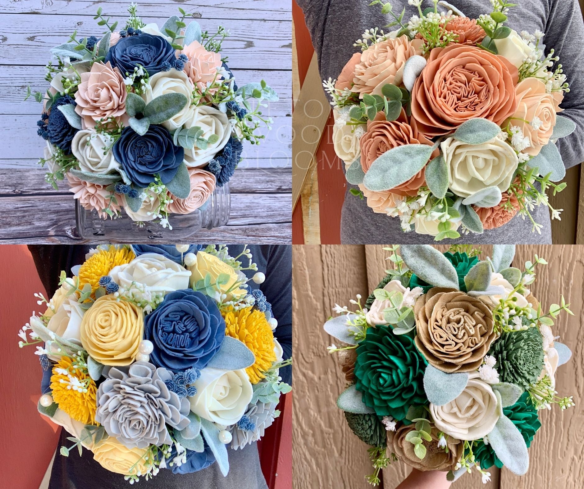 Dusty Blue and Slate Blue Bouquet