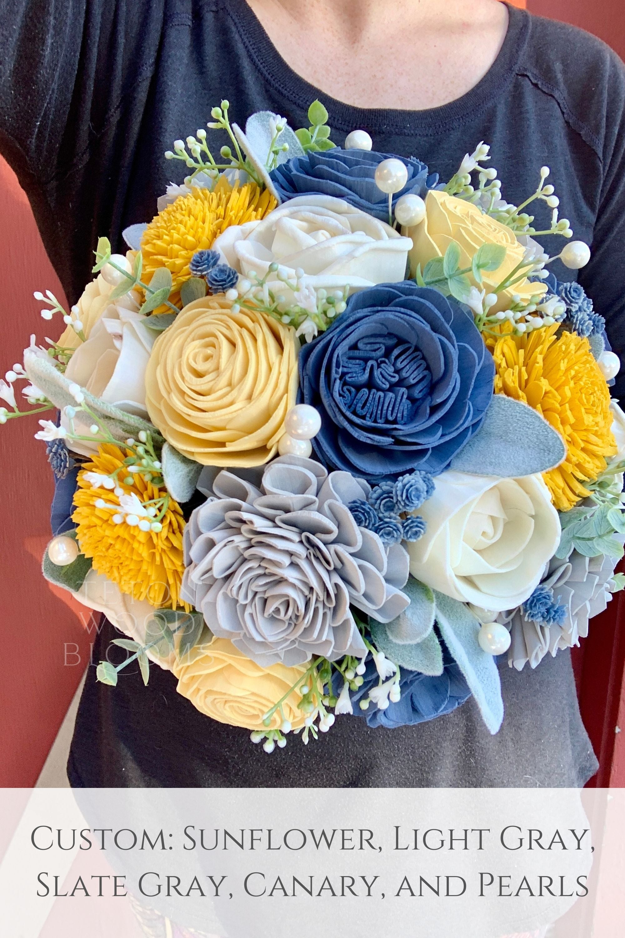 Rustic Blue, Gray and Yellow Bouquet