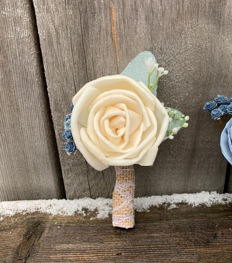 Ivory and Baby's Breath Boutonniere