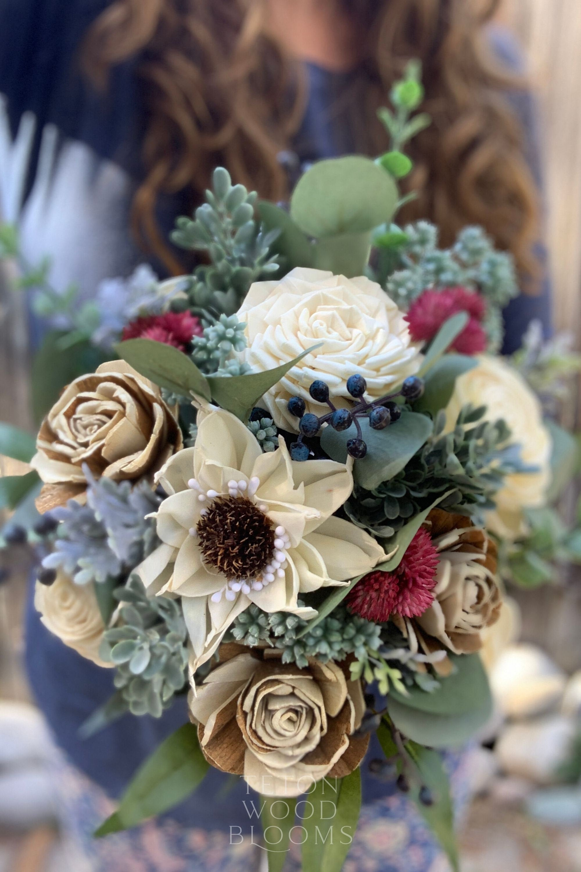 Ivory and Navy Eucalyptus Corsage